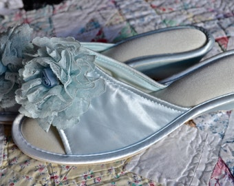 Blue Satin Peep Toe Slippers. New Old Stock. Lace Rosette Mules. Vintage Boudoir Slippers. US Size Large 10 - VA131