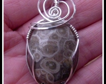 Coral Fossil Pendant wire wrapped in Sterling Silver