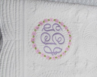Monogrammed Baby Quilt, Monogrammed Baby Blanket, Personalized baby quilt, White  baby quilt, white baby blanket.