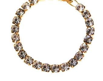 Sparkling Rhinestone Tennis Bracelet, Line Bracelet, Old Hollywood, Glam, Art Deco Inspired, Gold Tone, Designer Vintage Jewelry