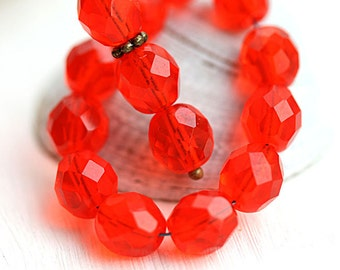 8mm Red glass beads light Red round Czech glass beads, fire polished faceted ball beads - 15Pc - 2705