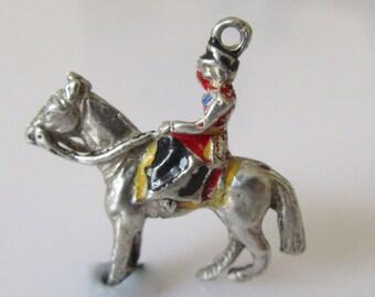 Silver Enamel Queen Elizabeth on Horseback Charm