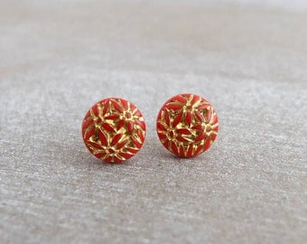 Red and Gold Earrings ..  red earrings, small earrings, dainty studs, red post earrings, red studs, red earrings