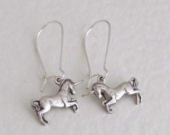 Unicorn Earrings .. silver unicorn earrings, silver earrings, mythical, Pegasus