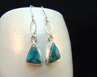 Silver Turquoise Trillion Drop Earrings