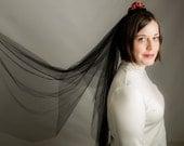 Black Fingertip Wedding Veil with Red & Gold Silk Flowers - alternative wedding veil, gothic wedding