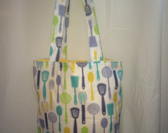 "Kitchen Utensils Print Handmade 14"" x 14"" Lined Tote Bag"