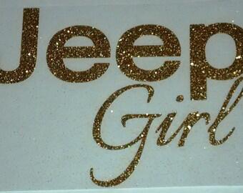 Jeep Girl Glitter Vinyl Transfer ONLY - Jeep Decal - Jeep Girl Iron On - Jeep Girl Decal