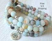 Amazonite Mala, 108 beads, Mala Bracelet or Necklace, Reiki, Buddhist Rosary,Prayer beads, Gemstone, wrist mala, Lotus, buddha, ohm, om