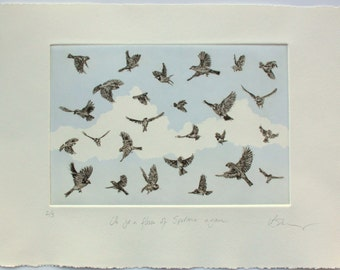 Flock of Sparrows. Fine art bird print. Drypoint with relief ink.