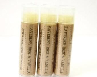 SHOP CLOSING SALE Lavender Rose Vanilla Lip Balm . Lavender Lip Balm . Rose Lip Balm . Cocoa Butter and Beeswax . 100% Natural Lip Balm