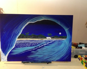 Full moon wave painting
