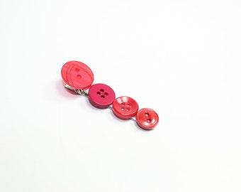 Red button barrette hair clip