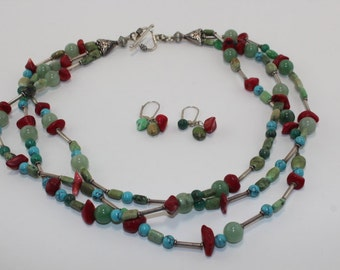 Multi strand turquoise and red coral necklace set