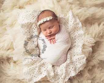 Newborn Baby Blanket,  Cream, Lace Blanket, Photo Prop