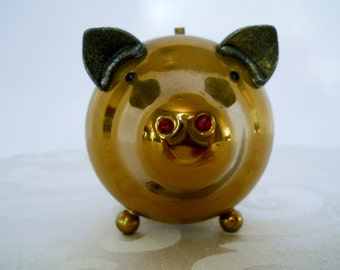 Vintage Brass Piggy Bank