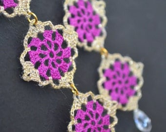 Gold and Purple dangle lace earrings, Dangle and drop earrings, crochet lace jewellery, gold metallic thread, Victorian Fantasy style