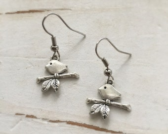 Okrrah sweet Little Bird on a Branch Earrings