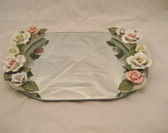 Oval Mirror Vanity Tray with Porcelain Roses Vintage 1950s Perfume, Cosmetic Tray Shabby Cottage Decor