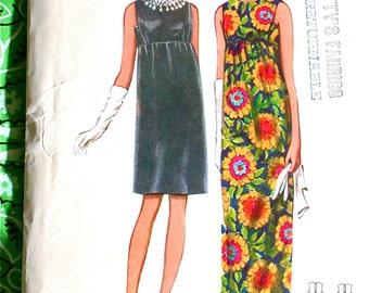 """Butterick Dress Pattern No 4734 Vintage 1960s Size 10 Bust 32 1/2"""" XS Sleeveless Empire Waist Back Zipper Maxi or Street Length Evening"""