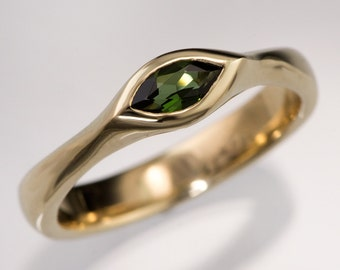 Marquise Green Tourmaline Engagement Ring in Yellow Gold, Rose Gold or White Gold, Sterling Silver or Palladium, Handmade Tourmaline Ring