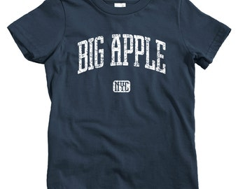 Kids Big Apple NYC T-shirt - Baby, Toddler, and Youth Sizes - New York City Tee, Brooklyn, Bronx, Queens, Staten Island - 4 Colors