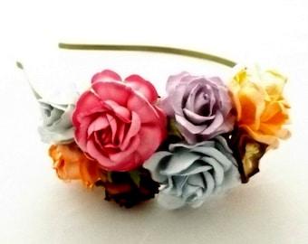 Vintage Colors Roses Headband. Aliceband Floral Fascinator. Flower. Wedding Party Bridal Accessory.  Bridesmaid