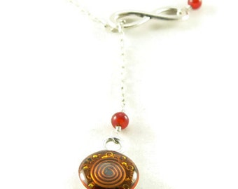 Orgone Energy Infinity Lariat Necklace in Antique Silver Finish with Carnelian Gemstone - Orgone Energy Necklace - Dainty Necklace