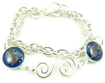 Orgone Energy Charm Bracelet - Silver w/Lapis Lazuli Gemstone - Multi Strand Bracelet - Cannes Celebrity Gift - Artisan Jewelry