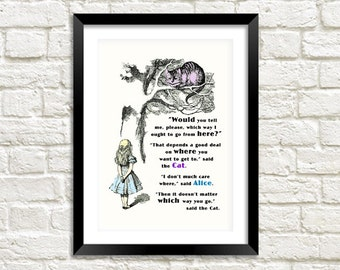 CHESHIRE CAT PRINT: Vintage Alice in Wonderland 'Which Way' Illustration Wall Hanging (A4 / A3 Size)