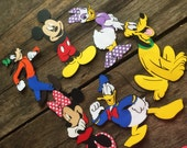 Mickey Mouse Clubhouse Character Diecut set - Mickey, RED Minnie, Pluto, Goofy, Donald, Daisy 6 1/2 inches