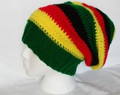 Africa Colors Slouch Hat - Adult Large - Rasta - Roomy - Hand Knit and Crocheted