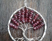 Garnet and Sterling Silver Tree of Life Pendant  MADE TO ORDER