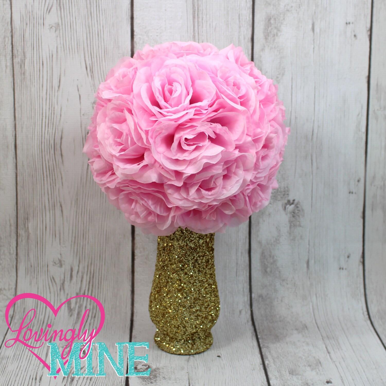 Centerpiece glitter gold glass vase pink faux silk rose
