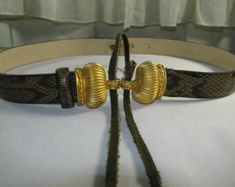 Vintage WORTH  green faux snakeskin belt size P