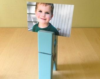 Oversized Clothespin Picture Holder Picture Frame Card Holder Robin's Egg Blue