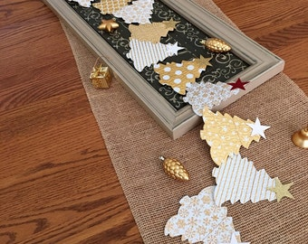 Christmas Tree Garland Holiday Party Paper Garland Embossed Joy Love Hope Peace Banner Decor Party Celebration Decoration Bannister  6 Ft.