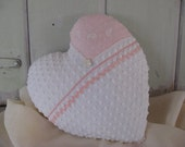 Heart Pillow Valentines Day White Vintage Chenille Heart with Pink Hankie on right side Home Decor Decorative Pillow