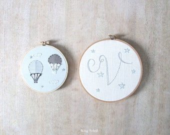 Personalized Embroidery Hoop Set of Two Modern Nursery Wall Art Design your Own One of a Kind