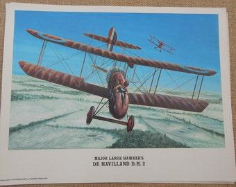 Major Lanoe Hawker's De Havilland D.H. 2  Color Litho Print  ~  The Homestead by Shepard Press Inc.  ~  Vintage Litho Print