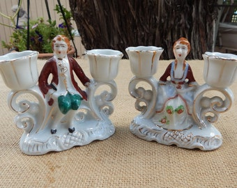 Occupied Japan Baroque Style Candle Holders  ~  Pair of Baroque Style Occupied Japan Candelabras  ~  Porcelain Occupied Japan Candle Holders
