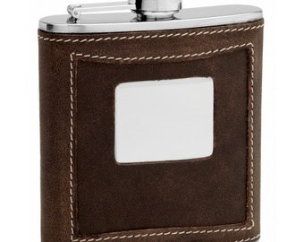 Distressed Leather Flask - PersonalizedTOP1