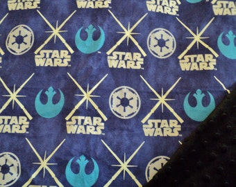 "Star Wars Baby Security Blanket, 19""X23"", Baby Boy Baby Girl Lovey, Minky Blanket, Star Wars Baby Gift, Geek Baby, Nursery, Baby Shower Gift"