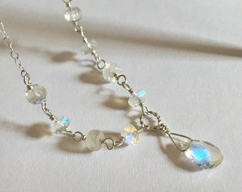 Rainbow Moonstone Necklace, Silver Moonstone Pendant, Sterling Silver, Blue Shimmer, Gemstone Necklace
