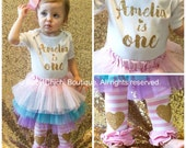 First birthday outfit girl Pink and gold birthday Personalized birthday outfit girl Tutu birthday outfit Baby Leg warmers
