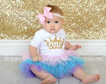 Princess First birthday outfit girl Pink and gold birthday Princess birthday Gold glitter Birthday Princess tutu