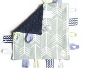 Navy Gray Green Arrows - Baby Boy Toy + tag lovey sensory security blanket with gray minky personalized embroidered