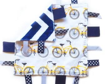 SALE Bikes - Baby Boy Tag Lovey Sensory Blanket with Navy Chevron Minky