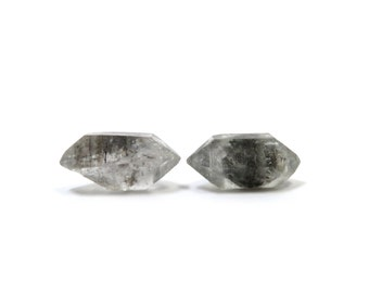 Tibetan Quartz 2 Raw Crystals Double Terminated 24mm and 25mm x 12mm Natural Rough Stones (Lot 1214) Raw Mineral