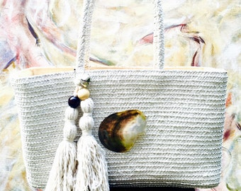 White Straw Market Bag/Purse with cotton tassls and abalone shell.